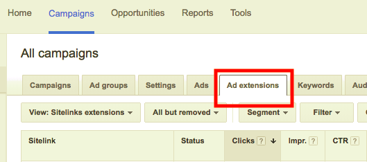 AdWords Ad Extensions Tab